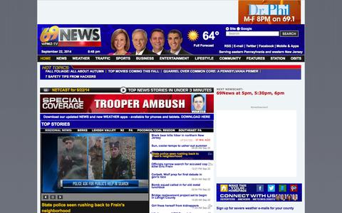 Screenshot of Home Page Site Map Page wfmz.com - WFMZ | Allentown, PA News, Lehigh Valley, Eastern Pennsylvania News, Weather, Sports | 69 News - captured Sept. 18, 2014