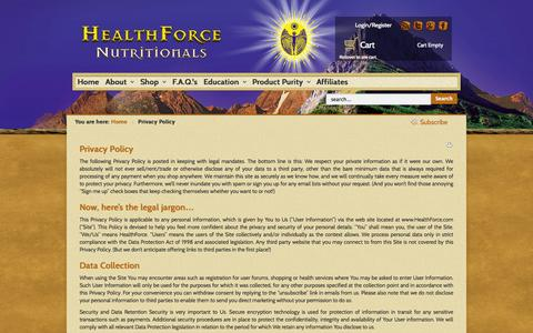 Screenshot of Privacy Page healthforce.com - Privacy Policy | HealthForce - captured Sept. 19, 2014