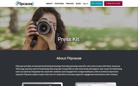 Screenshot of Press Page flipcause.com - Flipcause - Funding Life,Innovation, and Purpose - captured Jan. 2, 2017