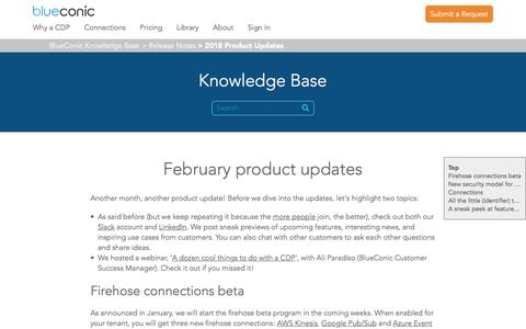 Screenshot of Support Page blueconic.com - February product updates – BlueConic Knowledge Base - captured May 2, 2018