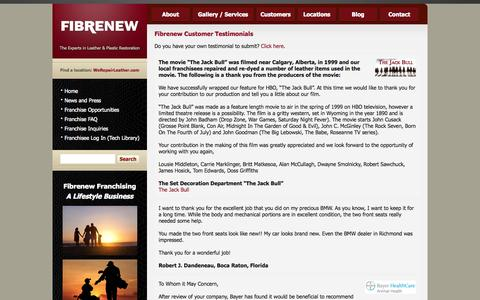 Screenshot of Testimonials Page fibrenew.com - Fibrenew Testimonials for Professional Leather, Plastic and Fiber Repairs - captured Oct. 10, 2014