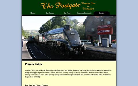 Screenshot of Privacy Page postgateinn.com - Contact Us - captured Sept. 22, 2018