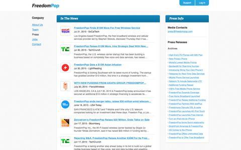 Screenshot of Press Page freedompop.com - Free Wireless Internet | Free Internet | 4G Wireless Internet - FreedomPop - captured July 3, 2016
