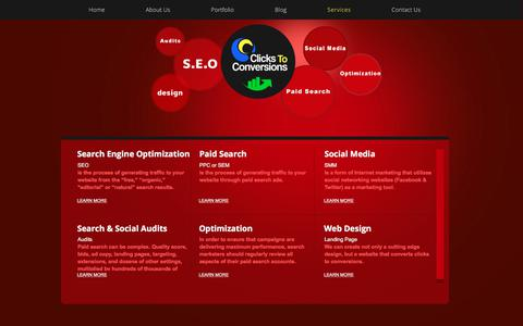 Screenshot of Services Page clickstoconversions.com - Social Media Agency, SEO, Paid Search, and Social Media Agency in Orlando Social Media Agency Services - captured July 8, 2018