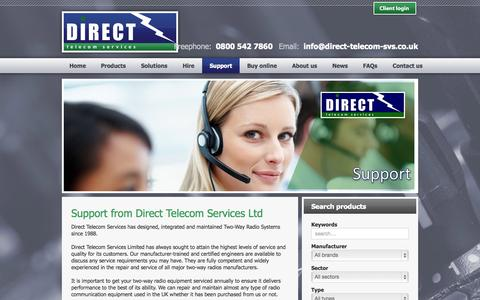 Screenshot of Support Page direct-telecom-svs.co.uk - Direct Telecom Services - Support - captured Oct. 5, 2014
