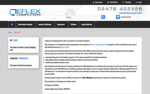 Screenshot of About Page eflexcomputers.com - About Us - captured Oct. 28, 2014
