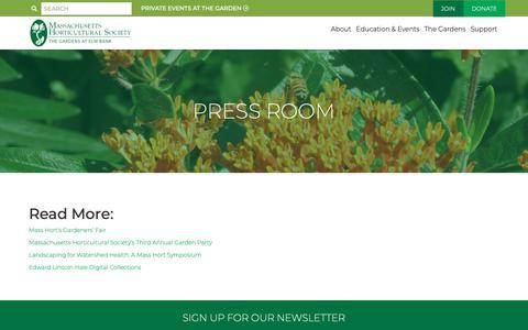 Screenshot of Press Page masshort.org - Press Room - Massachusetts Horticultural Society | Massachusetts Horticultural Society - captured Oct. 1, 2018