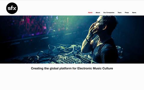 Screenshot of Home Page sfxii.com - SFX Entertainment - captured Sept. 19, 2014