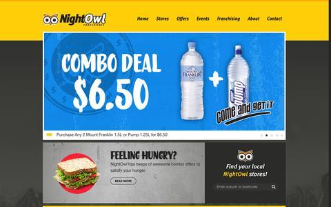 Screenshot of Home Page nightowl.com.au - Welcome to NightOwl Convenience Store | NightOwl - captured Jan. 27, 2015