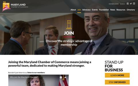 Screenshot of Signup Page mdchamber.org - Maryland Chamber of Commerce  |  Join - captured Oct. 17, 2018