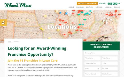 Screenshot of Locations Page weedmanfranchise.com - Franchise Locations   Weed Man Lawn Care - captured March 27, 2019