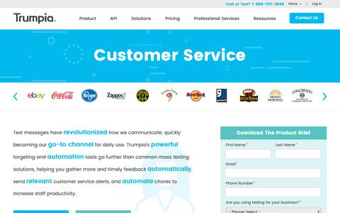 Screenshot of Support Page trumpia.com - Text Messaging Solutions for Customer Service | SMS Software - captured March 29, 2019