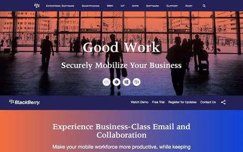 Screenshot of blackberry.com - Mobile email, calendar and contacts – Good Work - United States - captured May 6, 2016