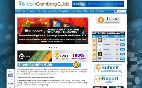 Screenshot of Home Page bitcoingg.com - Bitcoin Gambling Guide – Gamble Online with Bitcoins - captured Sept. 23, 2014