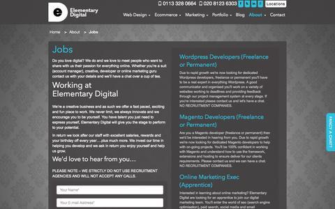 Screenshot of Jobs Page elementarydigital.co.uk - Jobs | Elementary Digital - captured Sept. 29, 2014