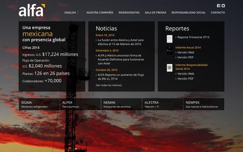 Screenshot of Home Page alfa.com.mx - ALFA - captured Feb. 5, 2016