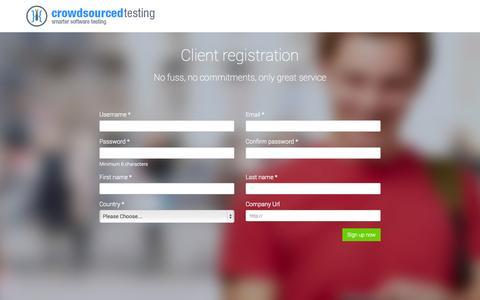 Screenshot of Signup Page crowdsourcedtesting.com - Client registration - captured Sept. 12, 2014