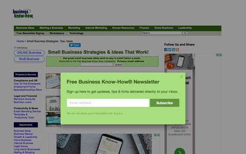 Screenshot of Home Page businessknowhow.com - Small Business Strategies & Ideas That Work | Business Know-How ® - captured Jan. 20, 2020