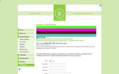 Screenshot of Contact Page limeorchard.co.uk - Contact Lime Orchard - National garden design and build advice franchise - captured Sept. 30, 2014