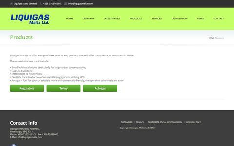 Screenshot of Products Page liquigasmalta.com - Products | Liquigas Malta Ltd - captured Oct. 22, 2014