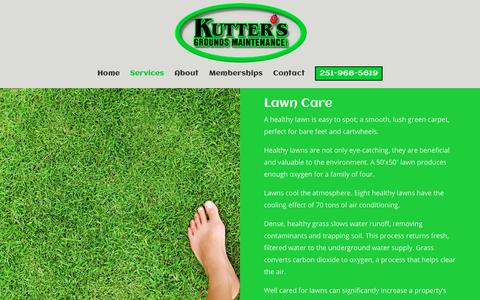 Screenshot of Services Page kutters.net - Services | Kutter's Grounds Maintenance, Inc. - captured Nov. 15, 2018