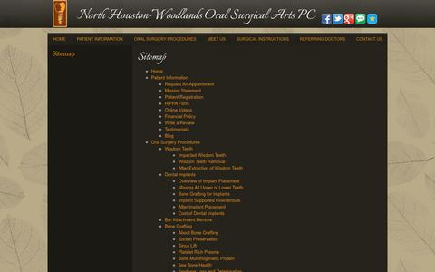 Screenshot of Site Map Page northhoustonoralsurgery.com - Website Sitemap North Houston-Woodlands Oral Surgical Arts PC - captured Oct. 18, 2018