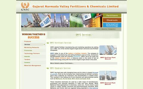 Screenshot of Services Page gnfc.in - :: Welcome to Gujarat Narmada Valley Fertilizers & Chemicals Limited - captured Oct. 16, 2016