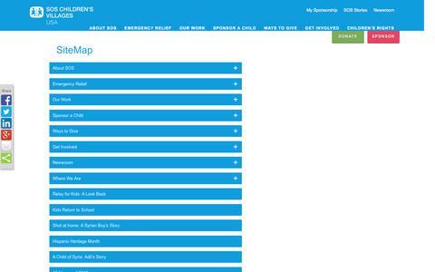 Screenshot of Site Map Page sos-usa.org - SOS USA SiteMap - captured Nov. 18, 2016