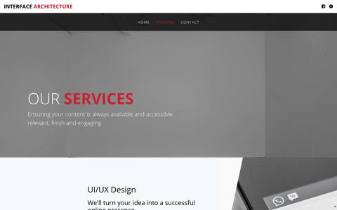 Screenshot of Services Page interfacearchitecture.co.uk - Interface Architecture — Services - captured Oct. 24, 2018