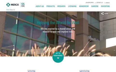 Screenshot of About Page merck.com - Merck | About - captured July 29, 2016