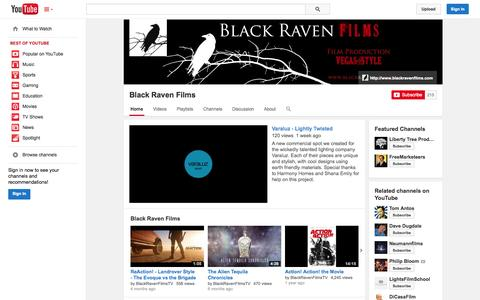 Screenshot of YouTube Page youtube.com - Black Raven Films  - YouTube - captured Oct. 23, 2014