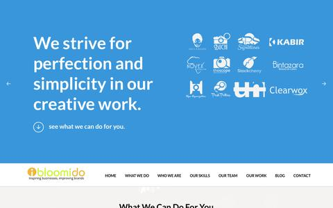 Screenshot of Home Page bloomido.com - Bloomido Solutions - Inspiring Businesses, Improving Brands. - captured Jan. 24, 2015