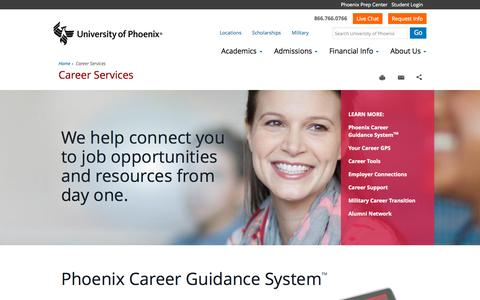 Screenshot of Jobs Page phoenix.edu - Career Services - University of Phoenix - captured Oct. 1, 2015