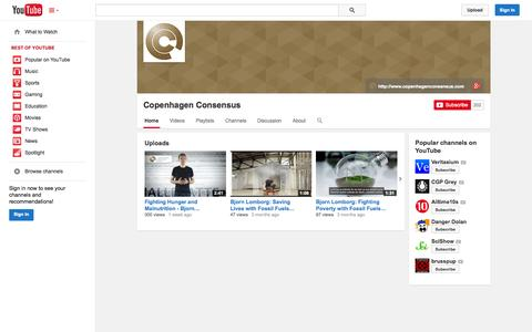 Screenshot of YouTube Page youtube.com - Copenhagen Consensus  - YouTube - captured Oct. 22, 2014