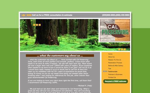 Screenshot of Testimonials Page calpreserving.com - Customer Testimonials About Cal Preserving - captured Oct. 28, 2014