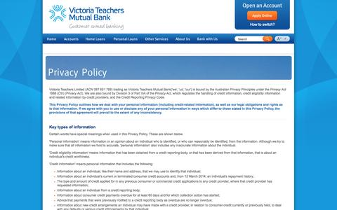 Screenshot of Privacy Page victeach.com.au - Privacy Policy - Victoria Teachers Mutual Bank - captured Sept. 24, 2014