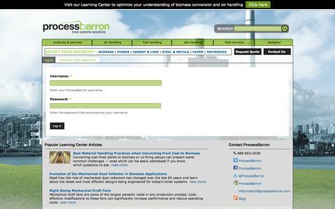 Screenshot of Login Page processbarron.com - User account - captured Sept. 30, 2014