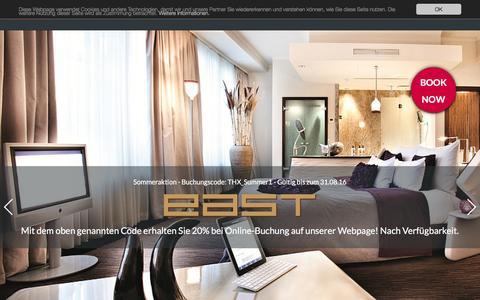 Screenshot of Home Page east-hamburg.de - east Hotel und Restaurant in Hamburg-St. Pauli - captured Aug. 24, 2016