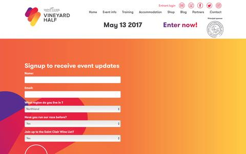 Screenshot of Signup Page vineyardhalf.com - Sign Up - Saint Clair Vineyard Half Marathon - captured April 11, 2017