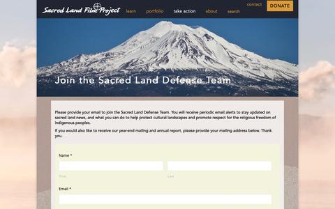 Screenshot of Signup Page sacredland.org - Join the Sacred Land Defense Team – Sacred Land - captured Dec. 17, 2018