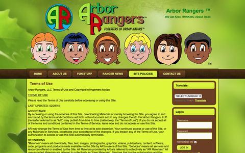 Screenshot of Terms Page arborrangers.com - Terms of Use | Arbor Rangers ™ - captured Nov. 21, 2016