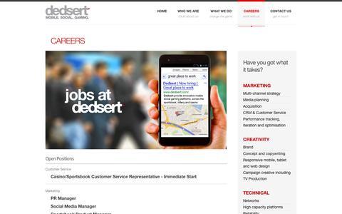 Screenshot of Jobs Page dedsert.com - Dedsert | Careers - captured Sept. 30, 2014