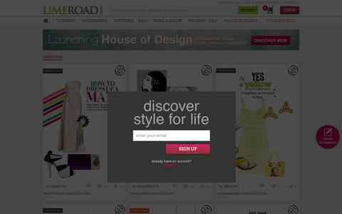 Screenshot of Home Page limeroad.com - Online Shopping India - Buy Women Clothes, Shoes, Bags, Accessories Online - captured Oct. 1, 2015
