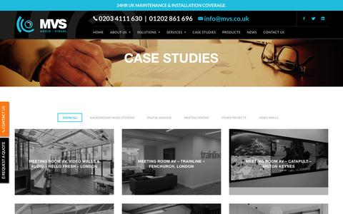 Screenshot of Case Studies Page mvsav.co.uk - Audio visual case studies from MVS Audio Systems - captured Nov. 17, 2016