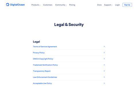 Screenshot of Terms Page digitalocean.com - Legal & Security on DigitalOcean - captured Sept. 20, 2018