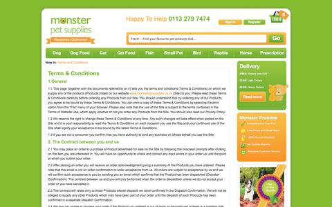 Screenshot of Terms Page monsterpetsupplies.co.uk - Terms and Conditions - captured Sept. 24, 2014