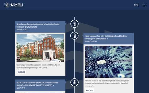 Screenshot of Press Page havencampuscommunities.com - News - Haven Campus Communities - captured May 15, 2017