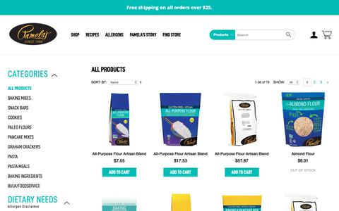 Screenshot of Products Page pamelasproducts.com - Pamela's Products - Gluten-Free All Products - captured June 7, 2019