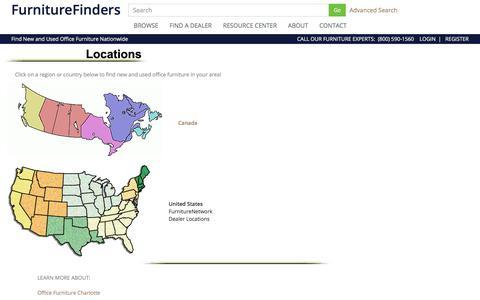 Screenshot of Locations Page furniturefinders.com - Browse by Region - Office Furniture at FurnitureFinders - captured Sept. 3, 2018