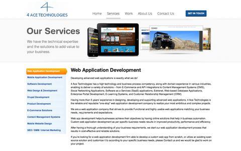 Screenshot of Services Page 4acetech.com - Web Application Development Firm | Web Application Company | 4 Ace Technologies - captured Oct. 27, 2014